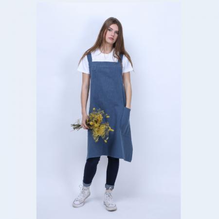 Tablier japonais en lin couleur bleu salé